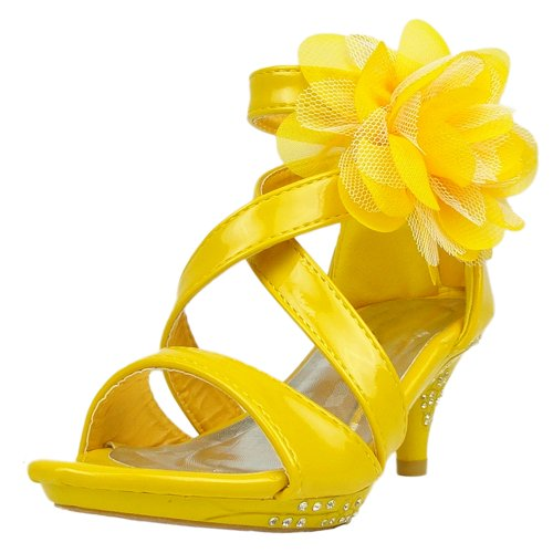 Kids Dress Sandals Strappy Patent Leather Flower High Heel