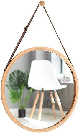 Miroir mural /à cadre en bois r/étro avec sangle /à suspendre Miroirs de salle de bain d/écoratifs ronds Miroirs /à barbe Maquillage Creative Grand