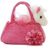 Aurora World Fancy Pals Plush Pink Pet Carrier Purse with White Pony