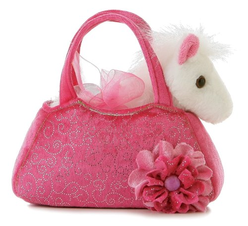- Aurora World Fancy Pals Plush Pink Pet Carrier Purse with White Pony