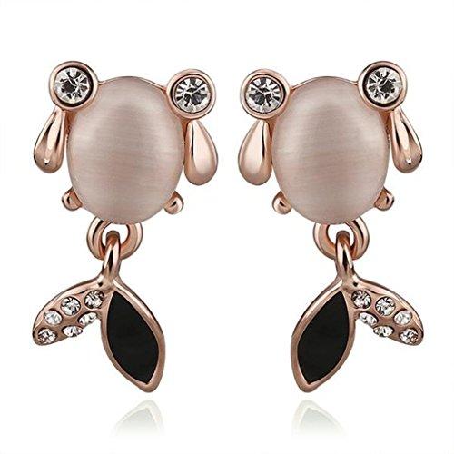 14k Goldfish Hook Earrings (Adisaer 18K Rose Gold Plated Stud Earrings Opal Goldfish Cubic Zirconia Eco Friendly)