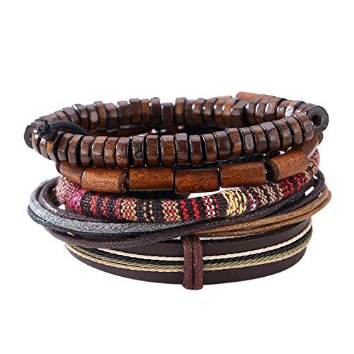Demiawaking Men's Mixed Bracelets Adjustable Handmade Multi Strand Braided...