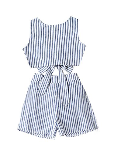 SweatyRocks Women's Sexy Backless Elastic Waist Jumpsuit Rompers Playsuit Blue M