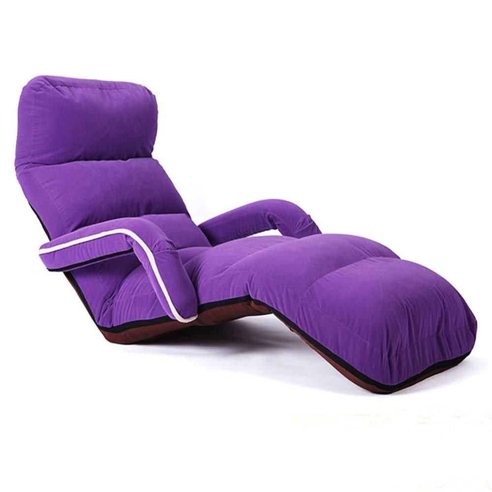 Chaise Réglable Avec Accoudoirs, Support Pour Le Dos, Siège Pliant Rembourré Confortable - Utilisée Comme Chaise De Jeu, Chaise De Méditation Ou Yoga Ou Camping - MultiCouleure En Option (taille  175X56 violet -