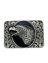 Lanxy Men's Western Cowboy Leaf Eagle Head Rectangles Belt Buckle Blue Enamel