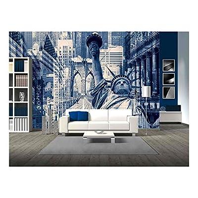 Wonderful Print, New York City United States of America Decorative Collage Containing Several New York Landmarks, Premium Product
