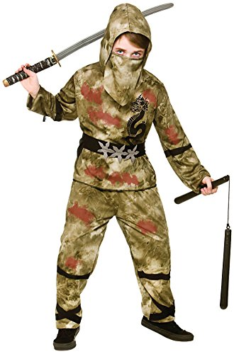 Kids Boys Zombie Ninja Halloween Fancy Dress Costume -