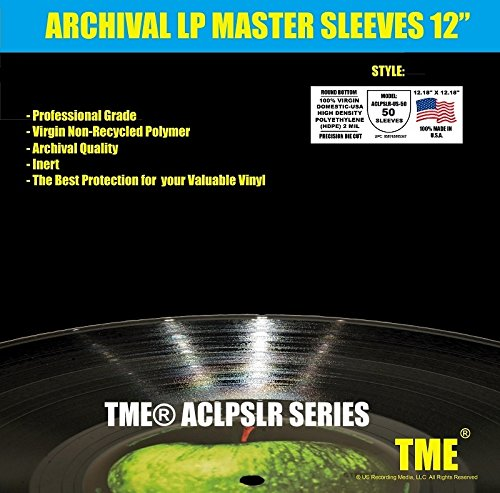 Anti Static Record Inner Master Sleeves Round Bottom USA Made for 12 Inch Vinyl Precision Die Cut 100% Virgin HDPE by TME 50 Pack for Up To 200 Gram ACLPSLR-US-50