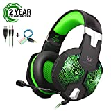 Gaming Headset with Mic and USB RGB LED Light for PS4 Xbox One PC Nintendo Switch,Lightweight Stereo Sound Over Ear Headphones,Soft Memory Earmuffs & Noise Cancelling & Volume Control (Blue)