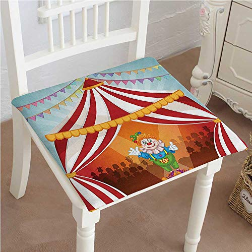 Mikihome Squared Seat Cushion Collection Cartoon Clown in Circus Tent Cheerful Costume Funny Entertainer Joyful Design Red Garden Patio Home Kitchen Office Sofa Seat Pad 32