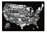 beer artwork - Inspirational Art Black and White US Beer Map Canvas Wall Art Abstract Picture Eco Light Framed Ready to Hang Artwork for Home Decoration