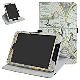 """ZenPad Z8s ZT582KL / Z8 ZT582KL-VZ1 Rotating Case,Mama Mouth 360 Degree Rotary Stand With Cute Pattern Cover For 7.9"""" Asus ZenPad Z8s ZT582KL / Z8 ZT582KL-VZ1 Android 7.0 Tablet,Map White"""