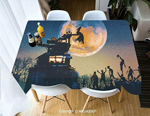 AngelDOU Modern Tablecloth Rectangle Table Cover Dead Queen in Castle Zombies in Cemetery Love Affair Bridal Halloween Theme for Camping Picnic Dinner Party Decor,W55xL82(inch)]()