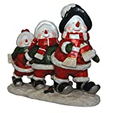 Snowmen Skiing LED Light Figurine Holiday Decor Polyresin 17.75'' inch