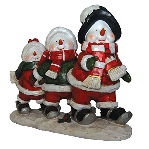 Snowmen Skiing LED Light Figurine Holiday Decor Polyresin 17.75'' inch by Homebrite Solar