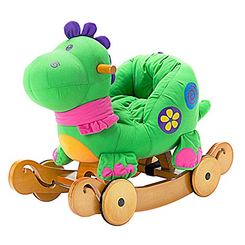 Horse Rocking Butterfly (Labebe Child Rocking Horse Toy, Stuffed Animal Rocker Toy, 2 in 1 Green Dinosaur Rocker whit Wheel for Kid 6-36 Months, Child Rocking Toy/Wooden Rocking Horse/Rocker/Animal Ride on/Dragon Rocker)
