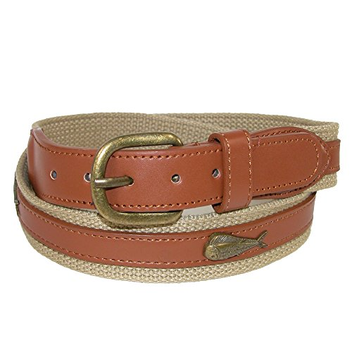 (CTM Men's Fabric Belt with Ribbon Overlay and Fish Conchos, 34, Khaki)