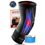 APOYO Elbow Brace Compression Support Sleeve for Tendonitis, Tennis Elbow, Golf Elbow, Weightlifting, More, with Adjustable Strap & Bonus Elastic Therapeutic Tape, Great for Workouts & Sports-Large