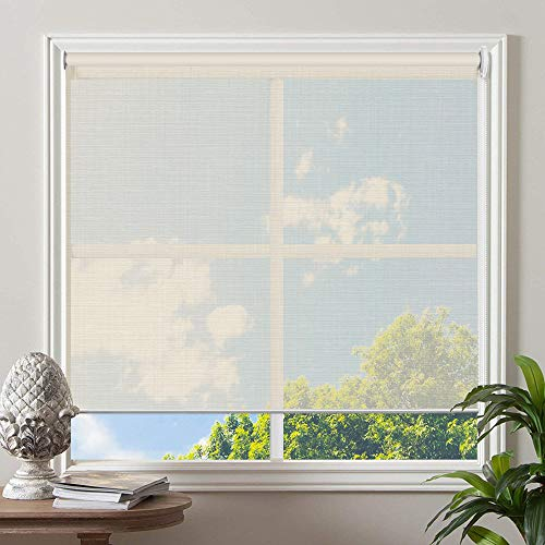 PASSENGER PIGEON Sheer Window Blinds, 57W x 84H Inches, Beige, UV Light Filtering Blinds, Custom Window Roller Shades Blinds for Windows, Bedroom, Kitchen, Doors, Sliding Door, French Door
