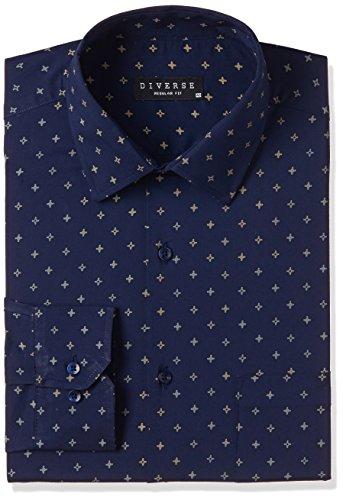 51F Rq OW L Diverse Men's Printed Regular Fit Full Sleeve Cotton Formal Shirt