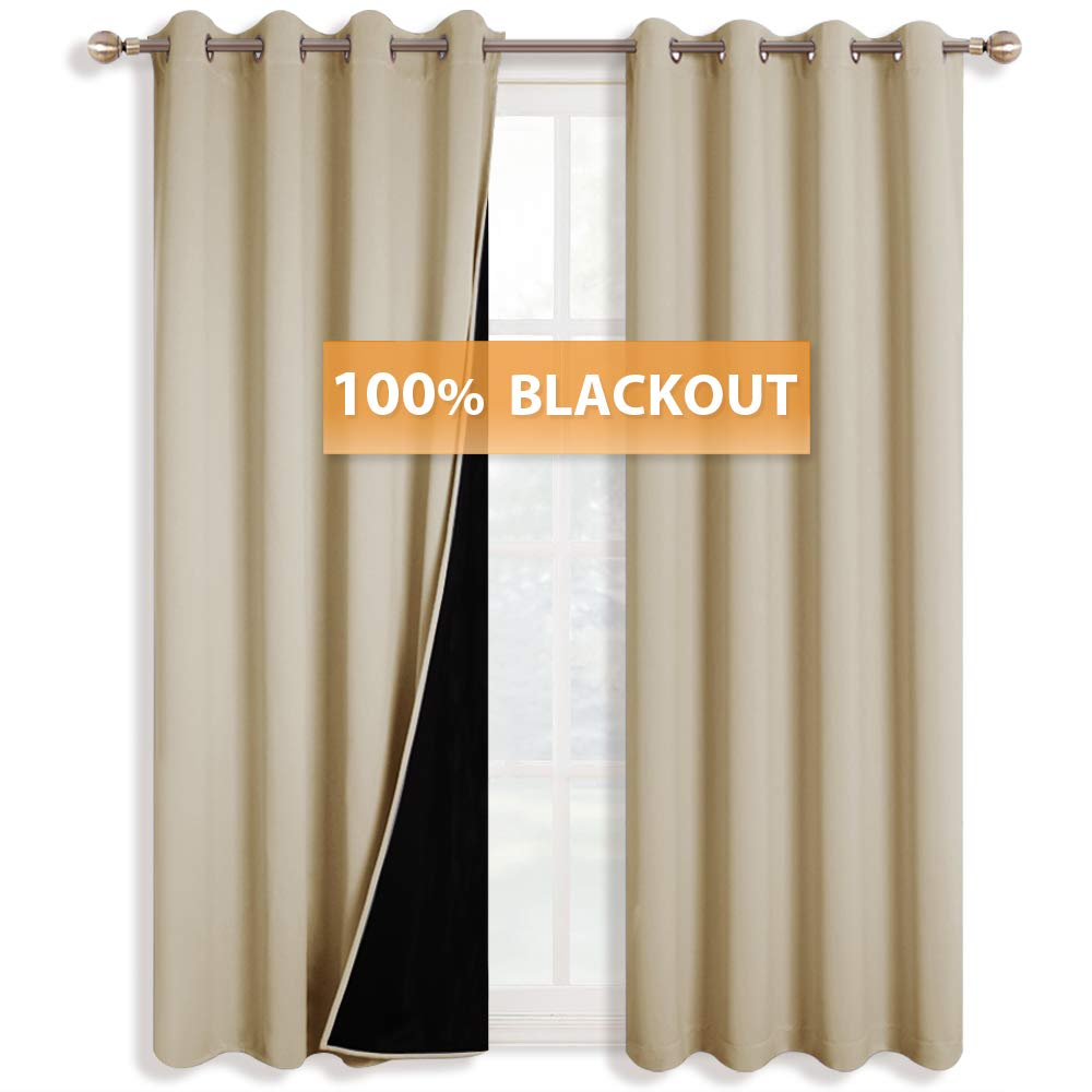 RYB HOME 100% Light Blocking Curtains for Bedroom Insulated Blackout Draperies with Liner Repel Summer Hot & Winter Cold for Patio Sliding Glass Door, Wide 52 x Long 84, Cream Beige, 1 Pair