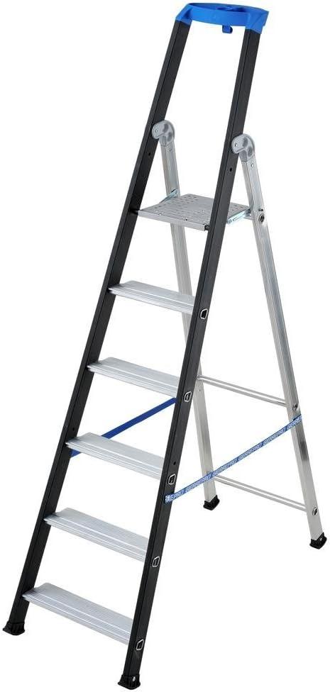 Escalera doble con tronco de subida profesional, aluminio, norma EN 131, 6 peldaños: Amazon.es: Hogar