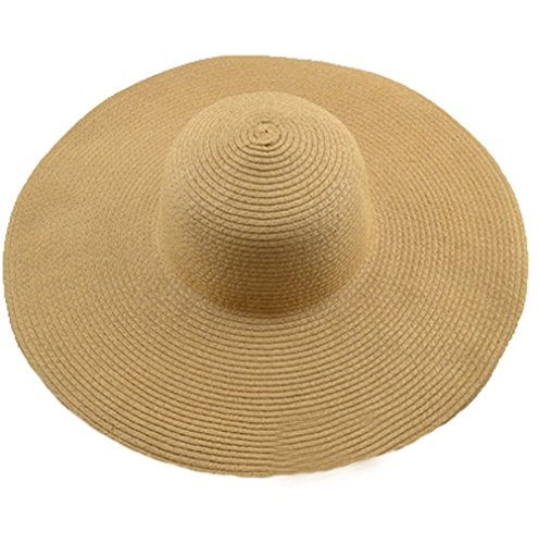 Hat Striped Floppy - AngelCity Brides Womens Beach Hat Striped Straw Sun Hat Floppy Big Brim Hat (Khaki)