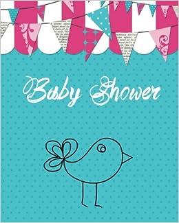 Baby Shower Blue Bird Message Book Guestbook Journal Keepsake
