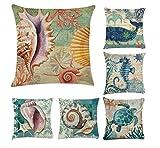 Oberora 6 Pack sea shell Pattern Cotton Linen Pillow Case...