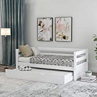 GLCHQ Kids Guests Twin Size Solid Wood Captains Daybed with Pull Out Trundle Frame Set (White)