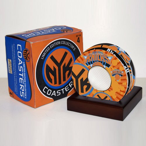New York Knicks Set of 4 Tempered Glass Coasters with Game used Jersey Pieces inside Steiner