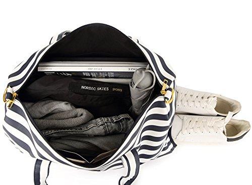 Elenture Weekender Tote Bag Leather Travel Duffel Bag Overnight Carry Bag (Navy Blue/White Stripe) by Elenture (Image #6)