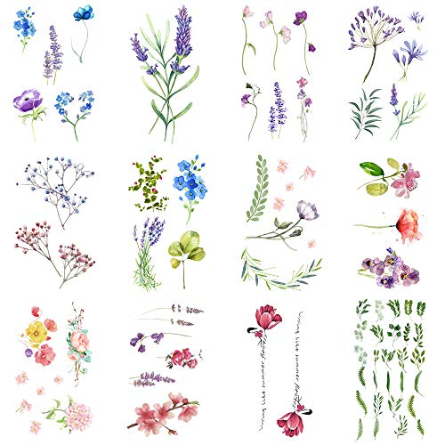 WYUEN 12 PCS/lot Flower Temporary Tattoo Sticker for Women Men Fake Tatoo Body Art Adult Waterproof Hand Stickers 9.8X6cm (FW12-04)