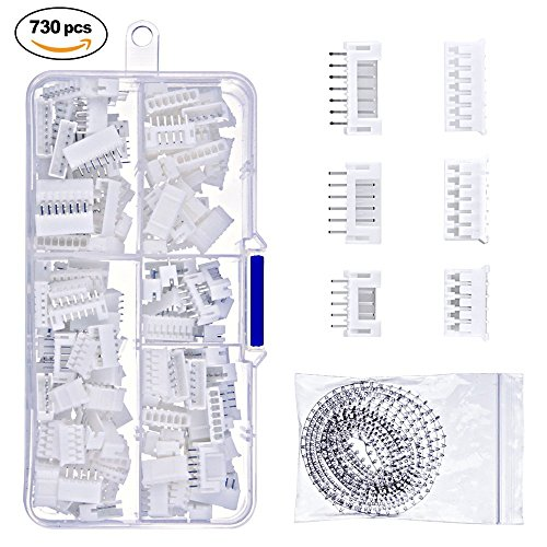 WAM Direct 730Pcs 2.0mm JST Connector Kit, with JST-PH 5/6/7 Pin Housing and Female, Crimp DIP Pin Header Terminal Connector Kit (Female 4 Pin Connector Housing)