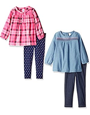 Girls' 4-Piece Shirt and Legging Set