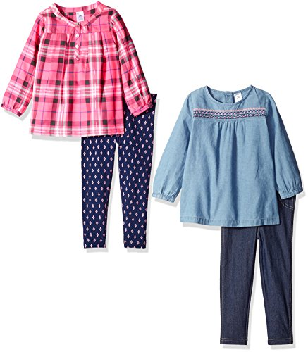 Carter's Girls' 4-Piece Shirt and Legging Set, Plaid/Denim, 12 Months