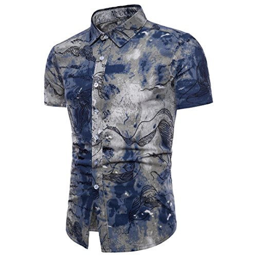 Han Shi❤️ Bohe Floral Plus Size Blouse Men Summer Short Sleeve T Shirt Tank Top (Blue, 5XL) by Han ShiTM-Blouse