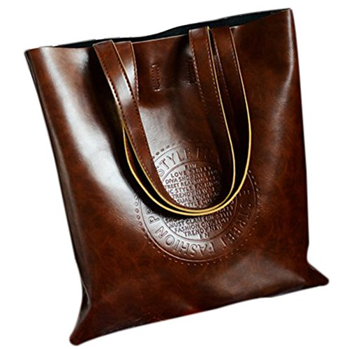 Women Tote - SODIAL(R)Vintage Women Tote Arrival Shoulder bags PU Leather Lady's Scrub Handbag Messenger bag Shopping Crossbody Bags£¨Brown£ (Scrub Tote)