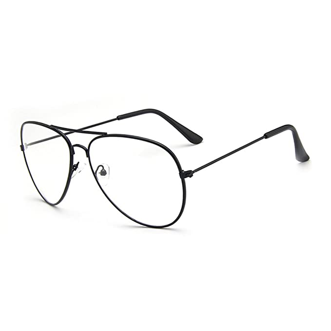 071af54c80 Fashion Retro Pilot Aviator Glasses Metal Frame Men Women Clear Lens  Eyeglasses - Black