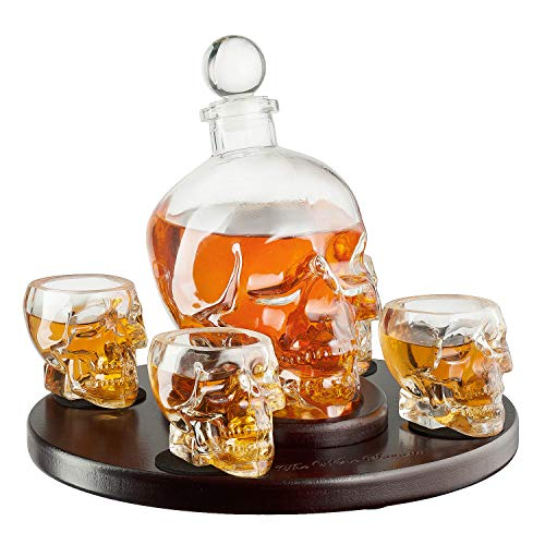 Large Skull Face Decanter with 4 Skull Shot