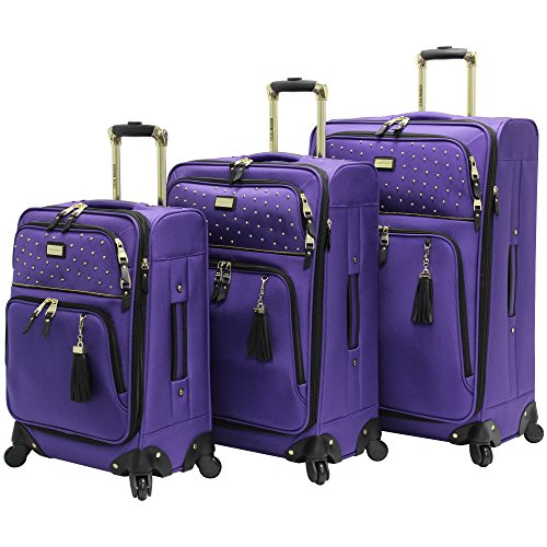 Steve Madden Luggage 3 Piece Softside Spinner Suitcase Set Collection (One Size, Rock Studs)