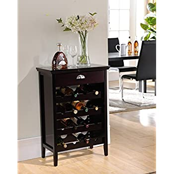 This Item Kings Brand Furniture Wood Buffet Wine Rack Cabinet With Drawer,  Dark Cherry Part 79