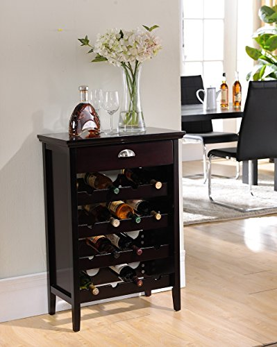 Kings Brand Furniture Wood Buffet Wine Rack Cabinet with Drawer, Dark Cherry (Wine Rack For Dining Room)