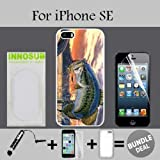 Pro Fishing Bass Mouth Custom iPhone SE Cases-White-Rubber,Bundle 3in1 Comes with Screen Protector/Universal Stylus Pen by innosub