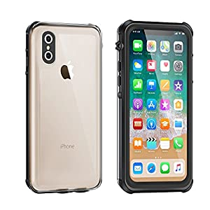 iPhone X Waterproof Case, Eonfine iPhone X Clear Protective Case IP68 Certified With Touch ID Screen Protector Ultra Slim Shockproof Case for iPhone X 5.8 inch Black, Wireless Charging Supported