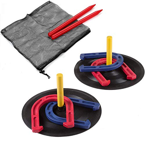 Rubber Horseshoes Game Set for Outdoor Indoor Games-Includes 4 Horseshoes,2 Pegs,2 Rubber Mats,2 Plastic dowels.1 Mesh bag-Beach Games Perfect for Backyard and Fun for Kids and Adults!(Red&Blue) (Horseshoe Kids Game)