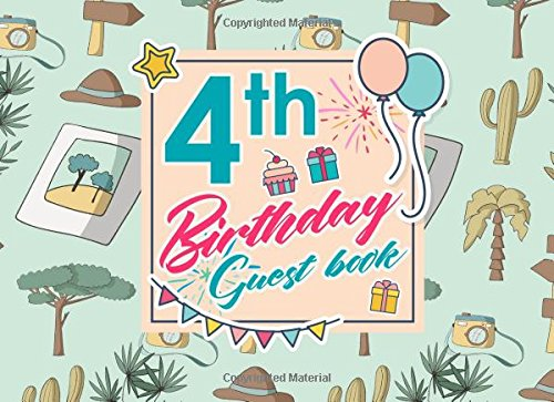 Download 4th Birthday Guest Book: Birthday Girl Guest Book, Guest Book For Visitors, Blank Guest Book Lined, Guest Sign In For Birthday, Cute Safari Wild Animals Cover (Volume 46) PDF
