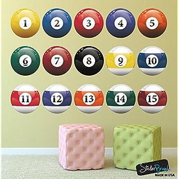 Amazon.com: 16 Realistic Color Billiard Balls Wall Decal Sticker ...