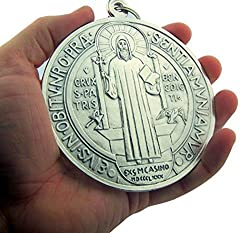 Silver Tone Saint Benedict Exorcism Evil Protection Wall Door Hanging Medal 4 Inch