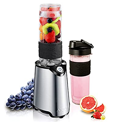Personal Blender, Aicok Mini Smoothie Blender, Stainless Steel Single Serve Blender with Travel Sport Bottle Lid and Tritan BPA-Free Cup, Great for Smoothies, Shakes and Baby Formulas, 20 Oz, 300W